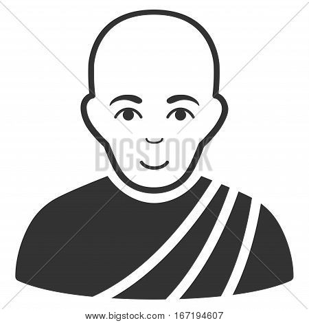 Buddhist Monk vector icon. Flat gray symbol. Pictogram is isolated on a white background. Designed for web and software interfaces.