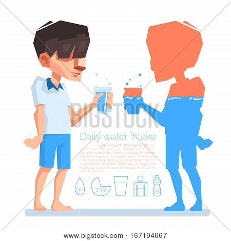 A man hold a glass in his hand Daily water intake Vector info-graphic illustration.
