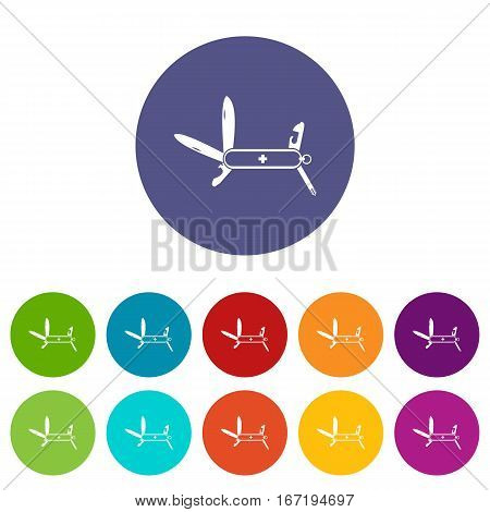 Swiss multipurpose knife set icons in different colors isolated on white background