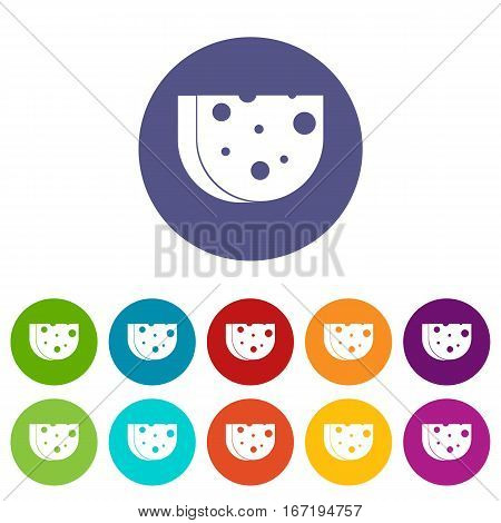 Piece of Swiss cheese set icons in different colors isolated on white background