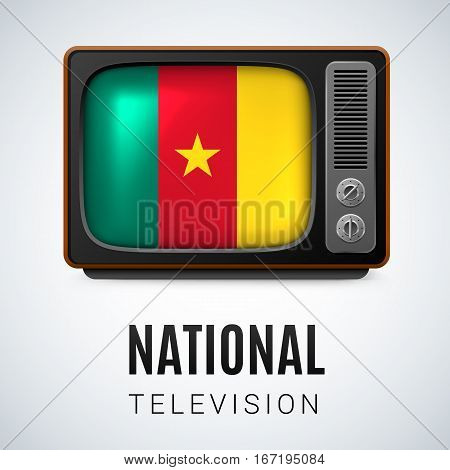 Vintage TV and Flag of Cameroon as Symbol National Television. Button with Cameroonian flag