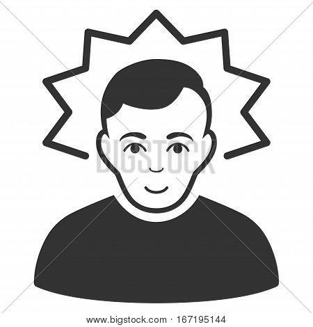 Inventor vector icon. Flat gray symbol. Pictogram is isolated on a white background. Designed for web and software interfaces.