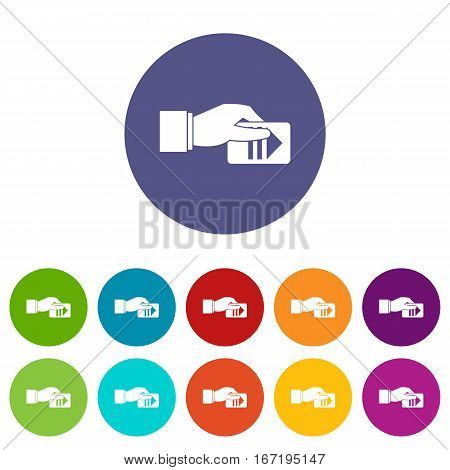 Hand with parking ticket set icons in different colors isolated on white background