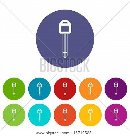 Car key set icons in different colors isolated on white background