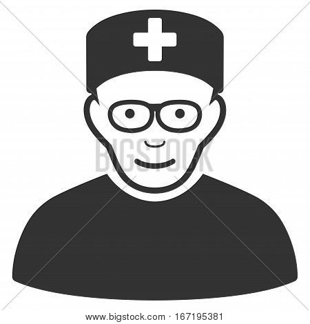 Medical Specialist vector icon. Flat gray symbol. Pictogram is isolated on a white background. Designed for web and software interfaces.