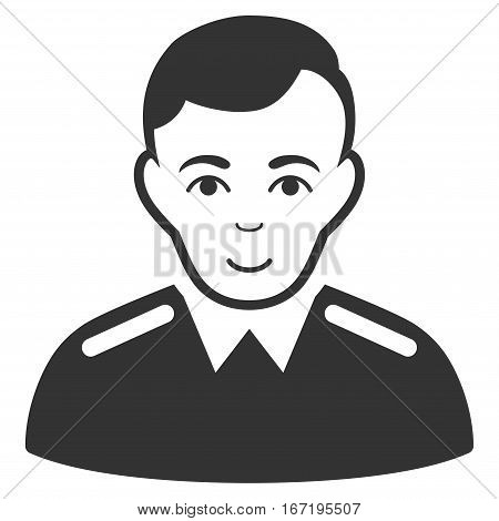 Officer vector icon. Flat gray symbol. Pictogram is isolated on a white background. Designed for web and software interfaces.