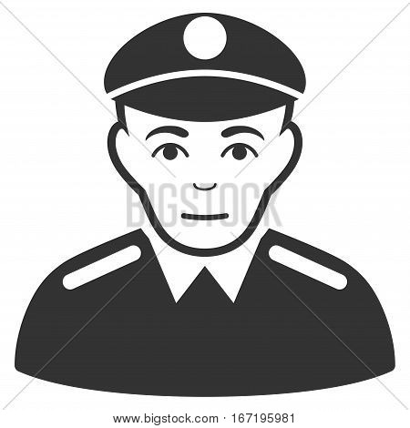 Soldier vector icon. Flat gray symbol. Pictogram is isolated on a white background. Designed for web and software interfaces.