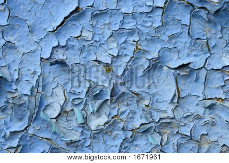 Old blue paint in the wall background. poster