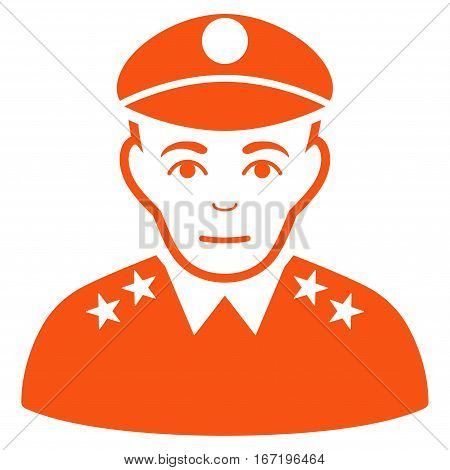 Army General vector icon. Flat orange symbol. Pictogram is isolated on a white background. Designed for web and software interfaces.