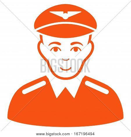 Aviator vector icon. Flat orange symbol. Pictogram is isolated on a white background. Designed for web and software interfaces.