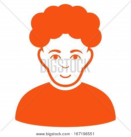 Brunet Man vector icon. Flat orange symbol. Pictogram is isolated on a white background. Designed for web and software interfaces.