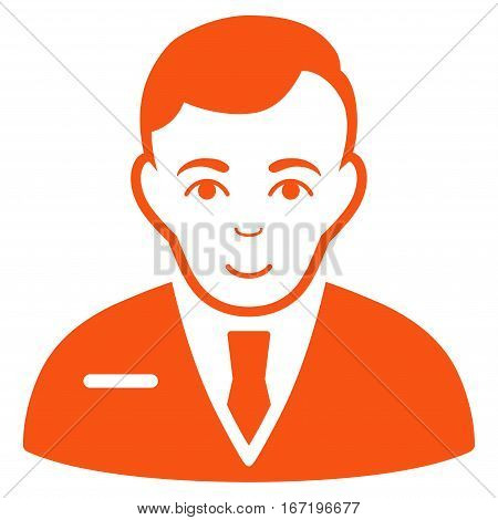 Businessman vector icon. Flat orange symbol. Pictogram is isolated on a white background. Designed for web and software interfaces.