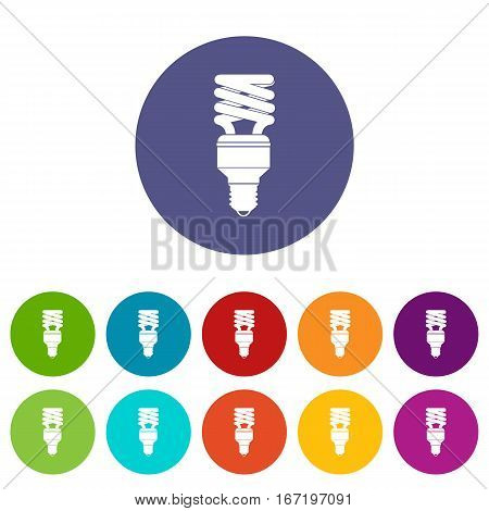 Energy saving bulb set icons in different colors isolated on white background