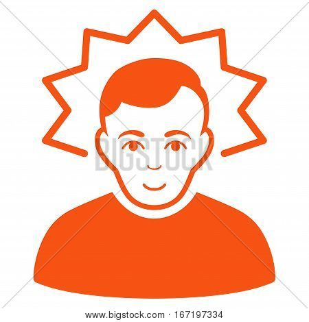 Inventor vector icon. Flat orange symbol. Pictogram is isolated on a white background. Designed for web and software interfaces.