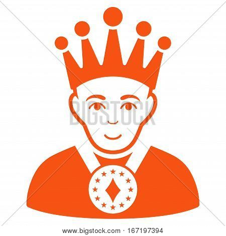 King vector icon. Flat orange symbol. Pictogram is isolated on a white background. Designed for web and software interfaces.