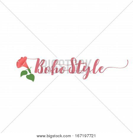 Vector illustration of boho logo. Bohemian logo with Boho Style text and flower on white background. Boho logo in pink color.