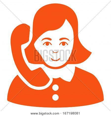 Receptionist vector icon. Flat orange symbol. Pictogram is isolated on a white background. Designed for web and software interfaces.