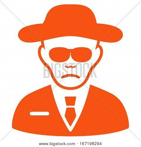 Security Agent vector icon. Flat orange symbol. Pictogram is isolated on a white background. Designed for web and software interfaces.