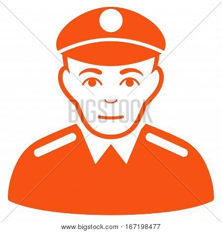 Soldier vector icon. Flat orange symbol. Pictogram is isolated on a white background. Designed for web and software interfaces.
