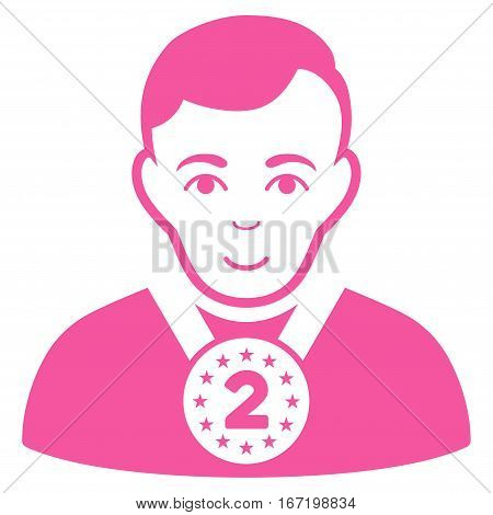 2nd Prizer Sportsman vector icon. Flat pink symbol. Pictogram is isolated on a white background. Designed for web and software interfaces.