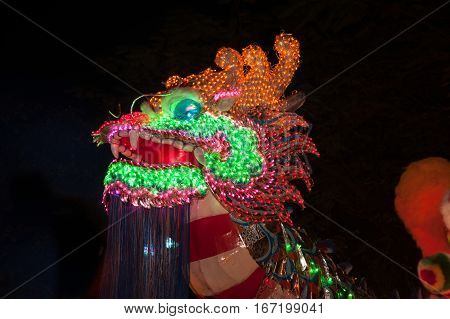 Lighting Head Dragons is showing in Chinese new year festival in Thailand.