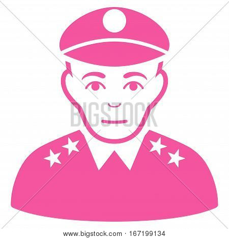 Army General vector icon. Flat pink symbol. Pictogram is isolated on a white background. Designed for web and software interfaces.