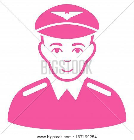 Aviator vector icon. Flat pink symbol. Pictogram is isolated on a white background. Designed for web and software interfaces.