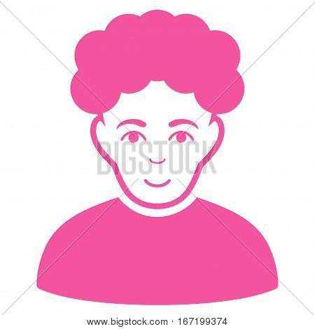 Brunet Man vector icon. Flat pink symbol. Pictogram is isolated on a white background. Designed for web and software interfaces.