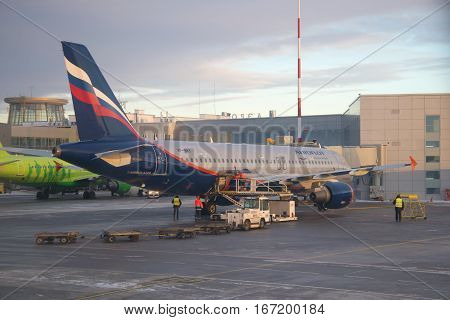SAINT PETERSBURG, RUSSIA - JANUARY 07 2017: Airbus A320-214 (VP-BKY) Aeroflot - Russian airlines in Pulkovo airport