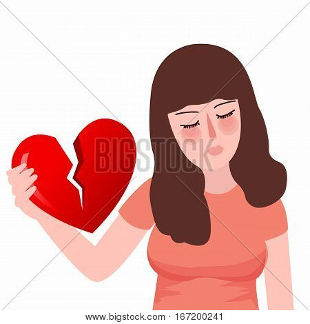 Red heartbreak broken heart or divorce flat girl unhappy sad vector
