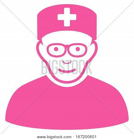 Medical Specialist vector icon. Flat pink symbol. Pictogram is isolated on a white background. Designed for web and software interfaces.