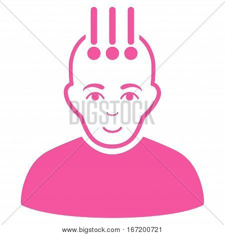 Neural Interface vector icon. Flat pink symbol. Pictogram is isolated on a white background. Designed for web and software interfaces.