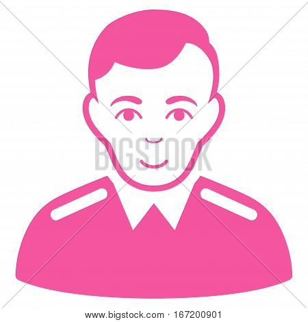 Officer vector icon. Flat pink symbol. Pictogram is isolated on a white background. Designed for web and software interfaces.