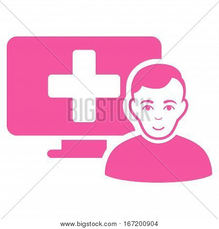 Online Medicine vector icon. Flat pink symbol. Pictogram is isolated on a white background. Designed for web and software interfaces.