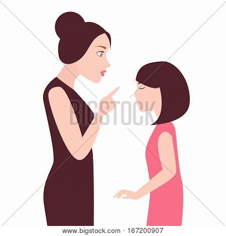 angry mother to her daughter girl scolds her child arguing vector