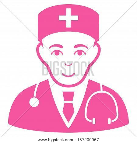 Physician vector icon. Flat pink symbol. Pictogram is isolated on a white background. Designed for web and software interfaces.