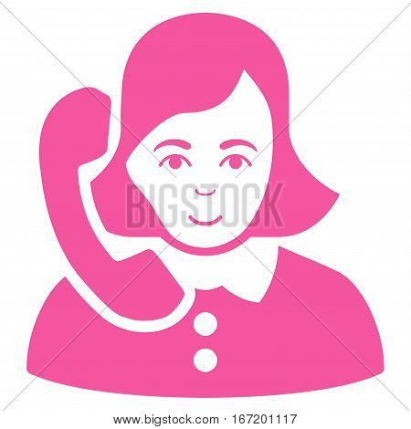 Receptionist vector icon. Flat pink symbol. Pictogram is isolated on a white background. Designed for web and software interfaces.