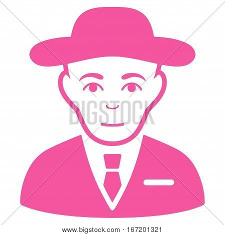 Secret Service Agent vector icon. Flat pink symbol. Pictogram is isolated on a white background. Designed for web and software interfaces.