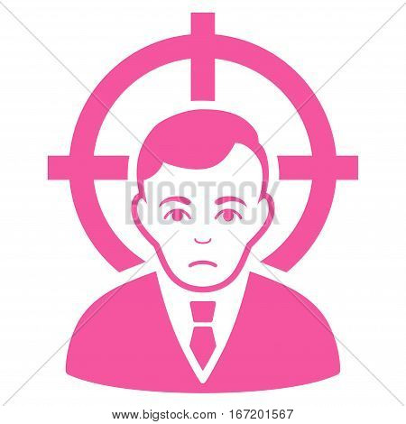 Victim Businessman vector icon. Flat pink symbol. Pictogram is isolated on a white background. Designed for web and software interfaces.