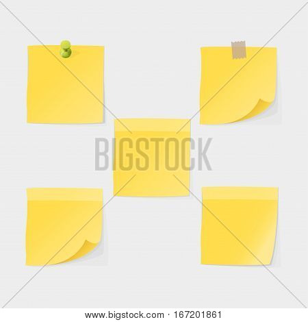 Stickers and notes, paper sheet sticky list isolated vector illustration. Message office different note business blank adhesive notice. Stationery empty reminder.