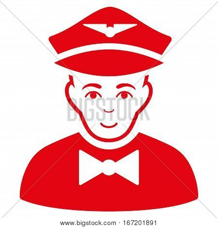 Airline Steward vector icon. Flat red symbol. Pictogram is isolated on a white background. Designed for web and software interfaces.