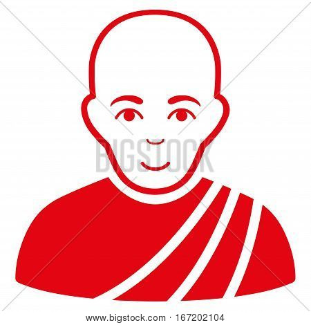 Buddhist Monk vector icon. Flat red symbol. Pictogram is isolated on a white background. Designed for web and software interfaces.