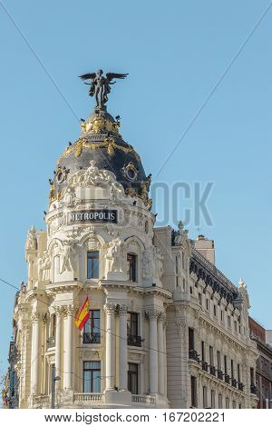 Madrid, Spain - January 14, 2017: The Metropolis building, or Edificio Metropolis, in Madrid, Spain