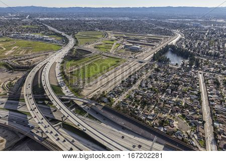 Los Angeles Hollywood 170 and Golden State 5 freeway interchange in the San Fernando Valley.