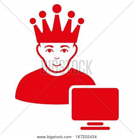 Computer Moderator vector icon. Flat red symbol. Pictogram is isolated on a white background. Designed for web and software interfaces.