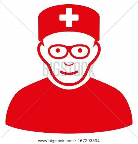 Medical Specialist vector icon. Flat red symbol. Pictogram is isolated on a white background. Designed for web and software interfaces.