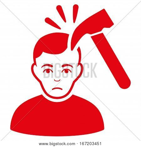Murder With Hammer vector icon. Flat red symbol. Pictogram is isolated on a white background. Designed for web and software interfaces.