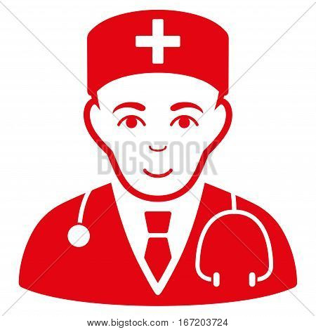 Physician vector icon. Flat red symbol. Pictogram is isolated on a white background. Designed for web and software interfaces.