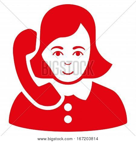Receptionist vector icon. Flat red symbol. Pictogram is isolated on a white background. Designed for web and software interfaces.