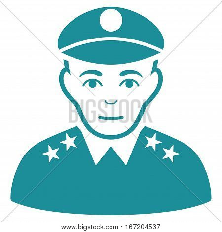 Army General vector icon. Flat soft blue symbol. Pictogram is isolated on a white background. Designed for web and software interfaces.